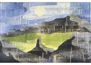 Valley by S.P.Verma, Impressionism Painting, Permanent Ink on Paper, Gray color