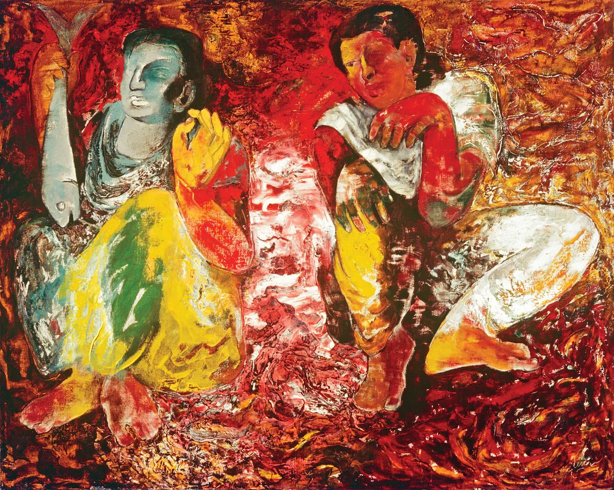 Siesta by Deepak Shinde, Expressionism Printmaking, Giclee Print on Hahnemuhle Paper, Brown color