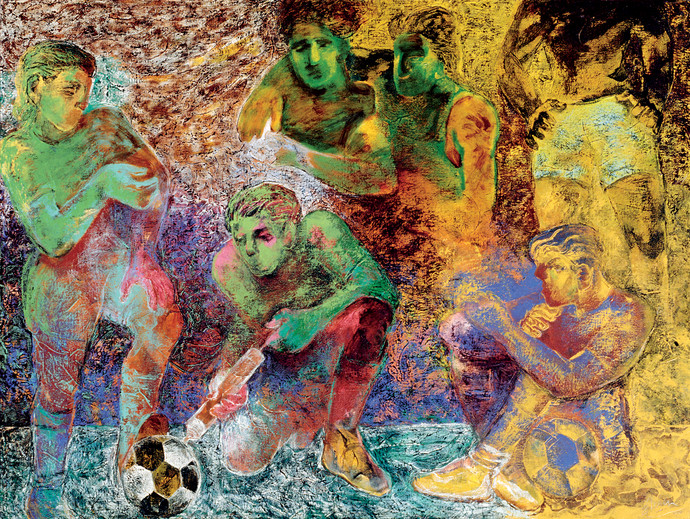 Football Players by Deepak Shinde, Expressionism Printmaking, Giclee Print on Hahnemuhle Paper, Brown color