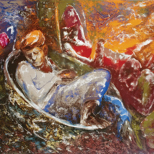 Siesta by Deepak Shinde, Expressionism Printmaking, Giclee Print on Hahnemuhle Paper, Brown color