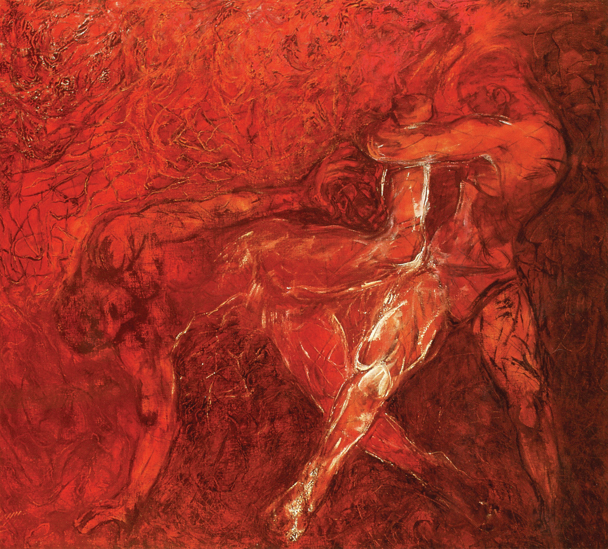 Wrestlers by Deepak Shinde, Expressionism Printmaking, Giclee Print on Hahnemuhle Paper, Red color