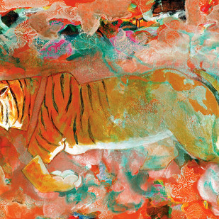 Portrait of a Prowl by Deepak Shinde, Expressionism Printmaking, Giclee Print on Hahnemuhle Paper, Brown color