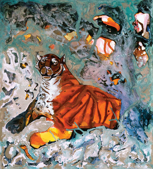 Lord of the Sunderbans by Deepak Shinde, Expressionism Printmaking, Giclee Print on Hahnemuhle Paper, Brown color