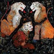 Three Tigers in Love by Deepak Shinde, Expressionism Printmaking, Giclee Print on Hahnemuhle Paper, Brown color