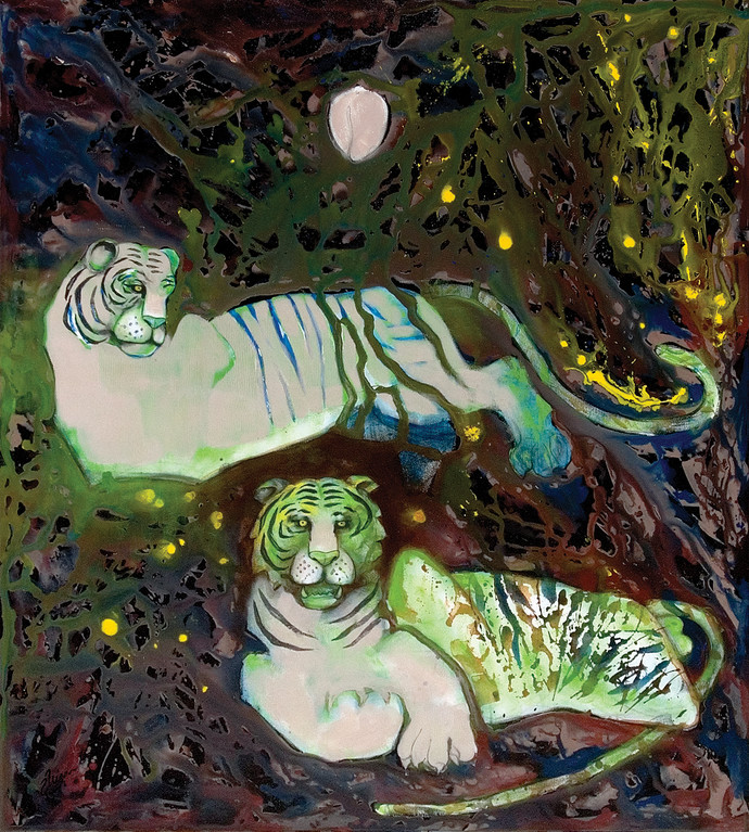 Passion in the Twilight Zone by Deepak Shinde, Expressionism Printmaking, Giclee Print on Hahnemuhle Paper, Green color