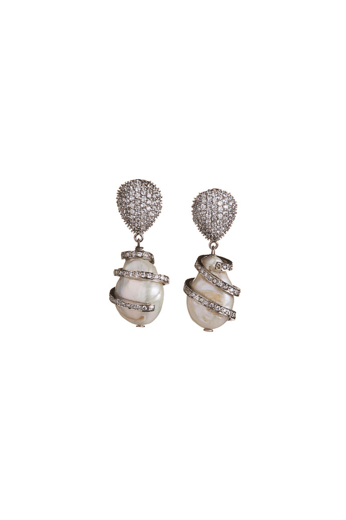 SPIRAL PEARL DROP by Vasundhara, Contemporary Earring