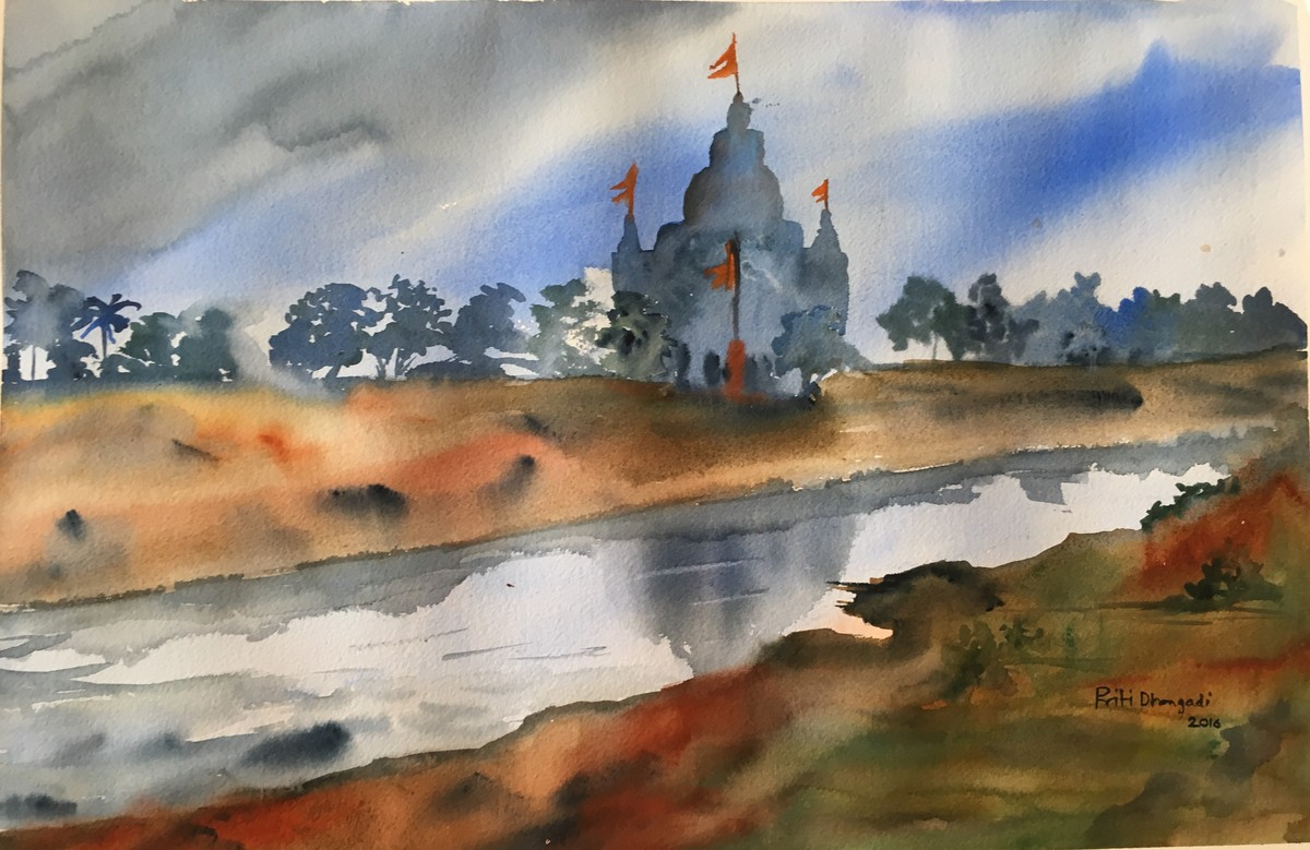 Jeevandhara...Lifeline by Priti Dhongadi, Impressionism Painting, Watercolor on Paper, Brown color