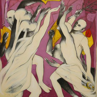 Untitled 24 by Amit Dutt, Expressionism Painting, Mixed Media on Canvas, Brown color
