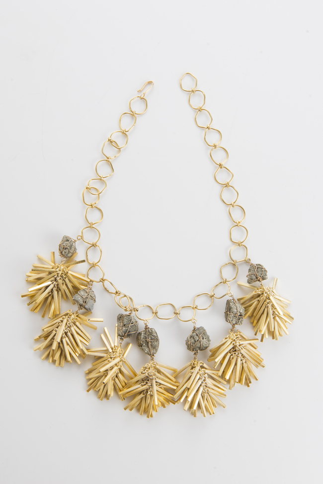 clustered golden danglers by Vasundhara, Contemporary Necklace