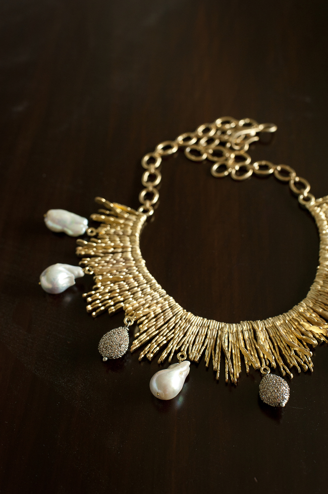 GOLDEN STICK NECKLACE by Vasundhara, Art Jewellery Necklace