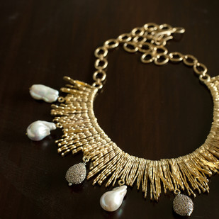 GOLDEN STICK NECKLACE by Vasundhara, Art Jewellery Necklace