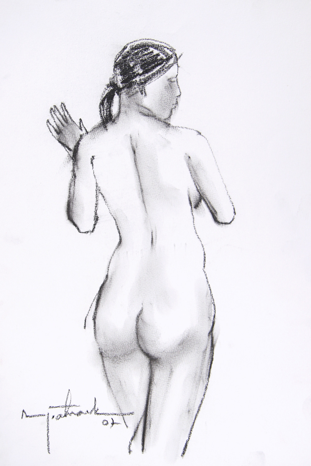 Untitled by Asit Kumar Patnaik, Illustration Drawing, Charcoal on Paper, White color