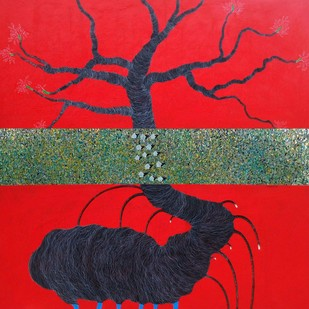 Beyond The Tree by Vishwas M Bhat, Expressionism Painting, Acrylic on Canvas, Red color