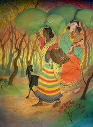 Untitled by Chitra Arya, Traditional Painting, Mixed Media on Paper, Brown color