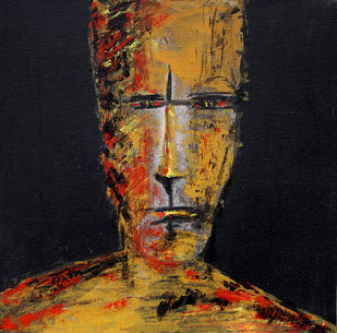 Untitled by Mahesh Singh, Expressionism Painting, Acrylic on Canvas, Brown color