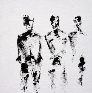 Untitled by Mahesh Singh, Impressionism Painting, Acrylic on Canvas, Gray color
