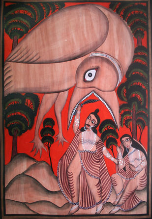 Kalighat Style Painting Artwork By Unknown Artist