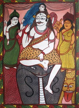 Bengal Pat by Unknown Artist, Folk Painting, Watercolor on Paper, Brown color