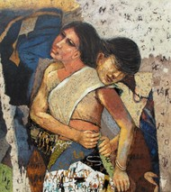 Couple by Jiten Hazarika, Impressionism Painting, Oil on Canvas, Brown color