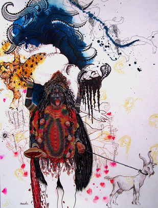 Kali by Sudatta Basu, Expressionism Painting, Mixed Media on Paper, Pink color