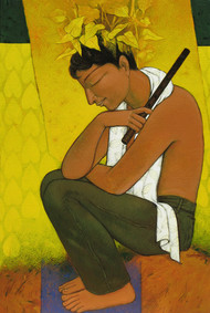 Thinker by Snehangshu Shekhar Das, Decorative Painting, Acrylic on Canvas, Brown color