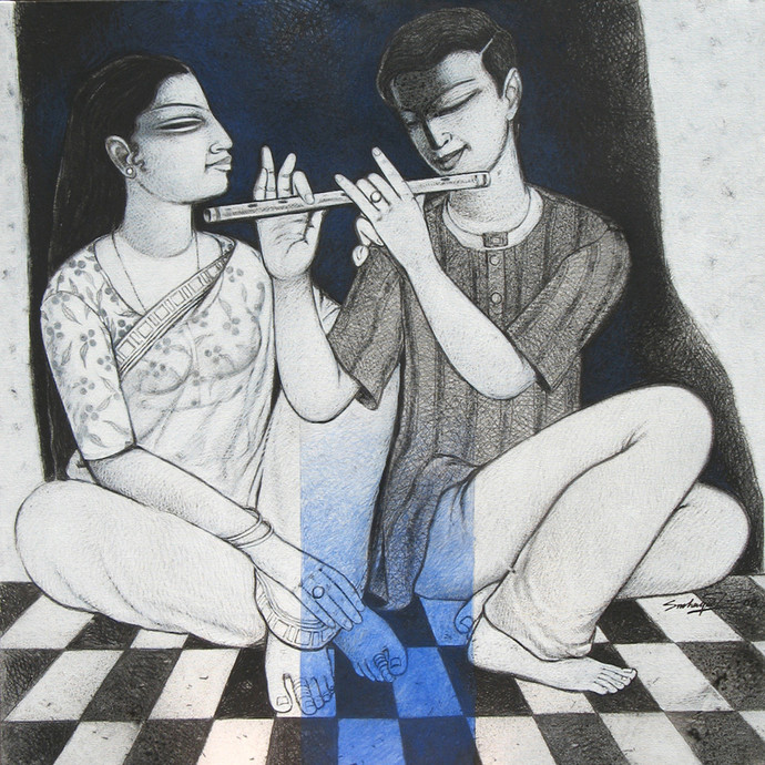 Love XI by Snehangshu Shekhar Das, Decorative Painting, Acrylic on Canvas, Gray color