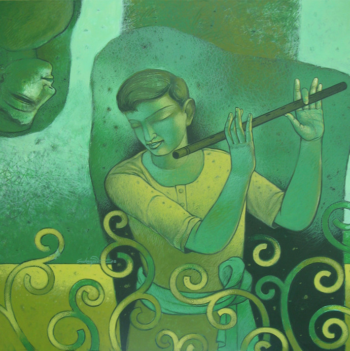 Lover In Tune by Snehangshu Shekhar Das, Decorative Painting, Acrylic on Canvas, Green color