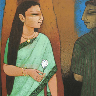 Offering A Flower by Snehangshu Shekhar Das, Decorative Painting, Acrylic on Canvas, Brown color