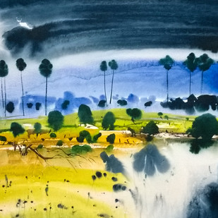 Rhythm by Santosh Keshari , Impressionism Painting, Watercolor on Paper, Blue color