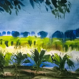 After Rain by Santosh Keshari , Impressionism Painting, Watercolor on Paper, Green color