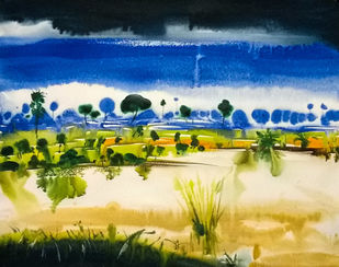 Water by Santosh Keshari , Impressionism Painting, Watercolor on Paper, Blue color