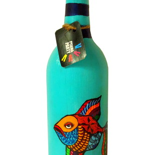 Recycle. Reuse. Rehydrate- Hand-painted bottle Funky Fish Decorative Container By Pyjama Party Studio