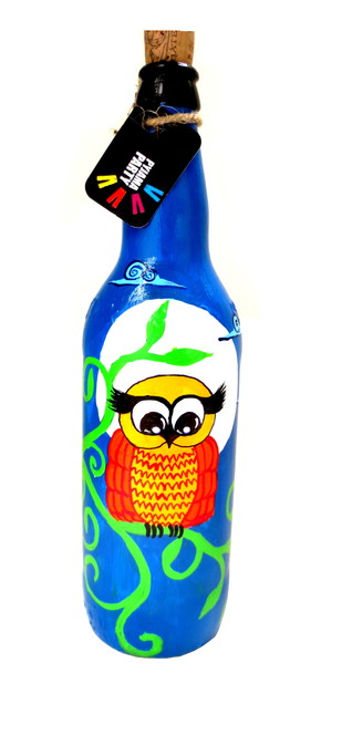 Recycle. Reuse. Rehydrate- Hand-painted bottle Midnight owl Decorative Container By Pyjama Party Studio