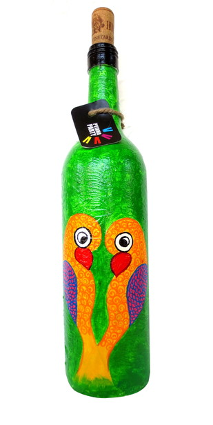 Recycle. Reuse. Rehydrate- Hand-painted bottle Love Birds Decorative Container By Pyjama Party Studio