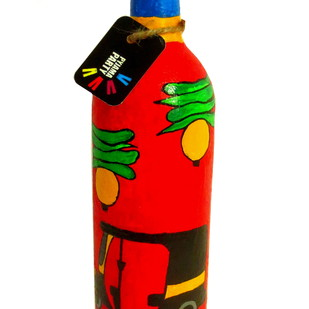 Recycle. Reuse. Rehydrate- Hand-painted bottle Red Rick Decorative Container By Pyjama Party Studio