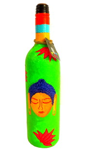 Recycle. Reuse. Rehydrate- Hand-painted bottle Shades of Buddha - Green Decorative Container By Pyjama Party Studio