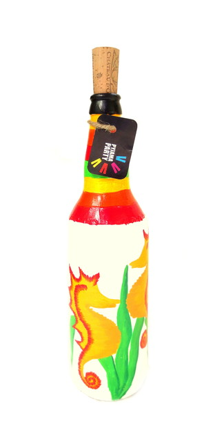 Recycle. Reuse. Rehydrate- Hand-painted bottle Seahorse Decorative Container By Pyjama Party Studio
