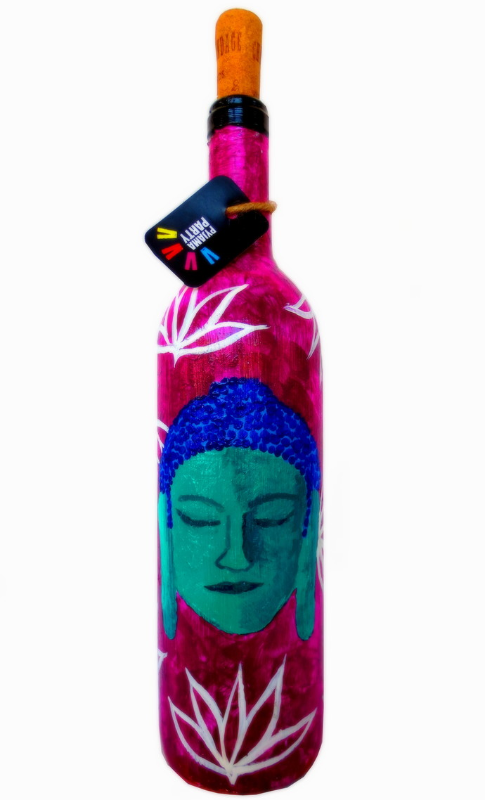 Recycle. Reuse. Rehydrate- Hand-painted bottle Shades of Buddha - Magenta Decorative Container By Pyjama Party Studio