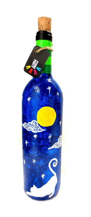 Recycle. Reuse. Rehydrate- Hand-painted bottle Yellow moon cats Decorative Container By Pyjama Party Studio