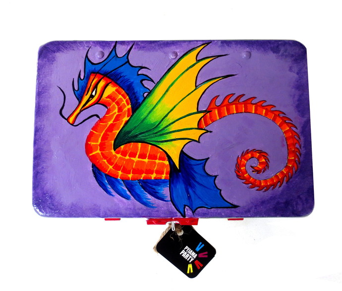 Trippy Trinket boxes- handpainted keepsake box Dragon Decorative Box By Pyjama Party Studio