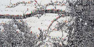 Storyteller: Ah megacity! by Vinita Dasgupta, Pop Art Painting, Mixed Media on Canvas, Brown color