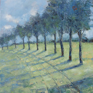 Sunlit Path 2 by Animesh Roy, Impressionism Painting, Oil on Linen, Green color