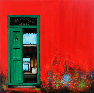 Door 4 by K R Santhanakrishnan, Decorative Painting, Acrylic on Canvas, Red color
