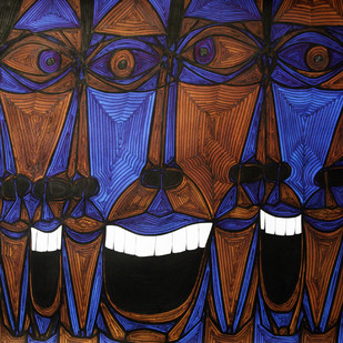 A Bargain Agreement - The Agreement (blue) by Dhanur Goyal, Expressionism Painting, Ink on Paper, Blue color