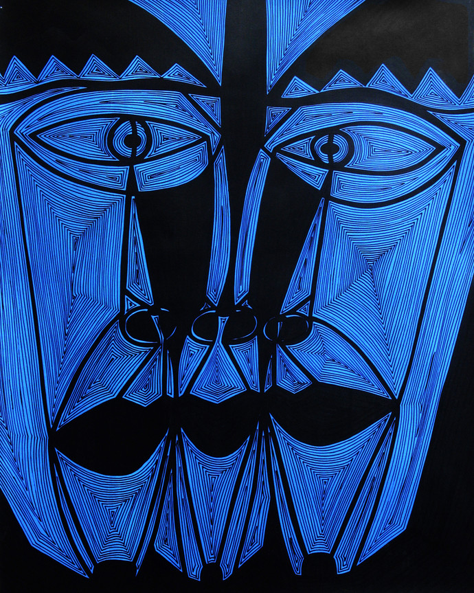 A Bargain Agreement - Suspicion (Blue) by Dhanur Goyal, Expressionism Painting, Ink on Paper, Blue color