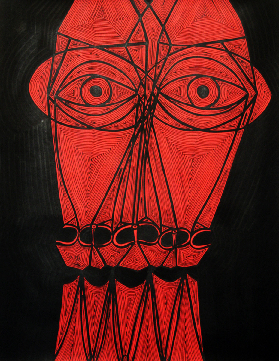A Bargain Agreement - Suspicion (Red) by Dhanur Goyal, Expressionism Painting, Ink on Paper, Red color