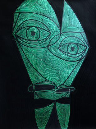 A Bargain Agreement - Suspicion (Green) by Dhanur Goyal, Expressionism Painting, Ink on Paper, Black color