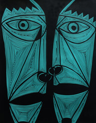 A Bargain Agreement - The Agreement (Phiroza) by Dhanur Goyal, Expressionism Painting, Ink on Paper, Green color