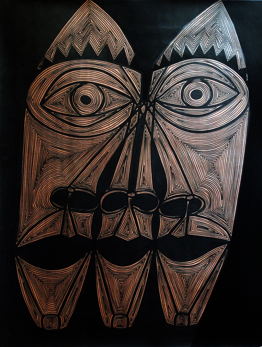 A Bargain Agreement - The Agreement (Burnt Umber)) by Dhanur Goyal, Expressionism Painting, Ink on Paper, Brown color