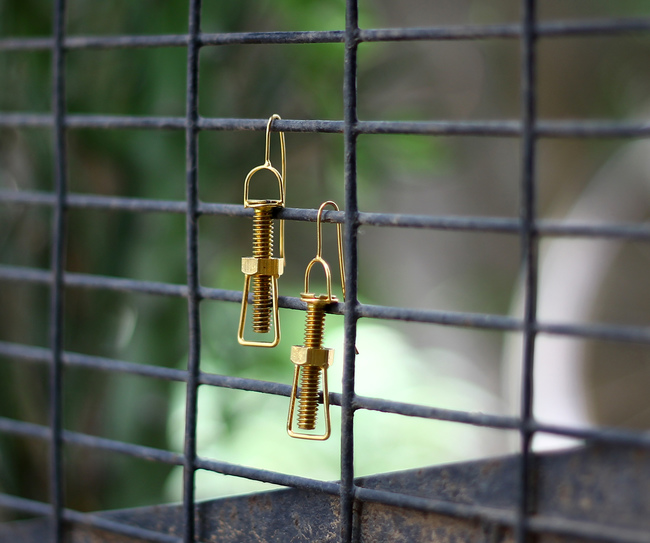 'Screwed' Earrings by KRITHAA, Art Jewellery Earring